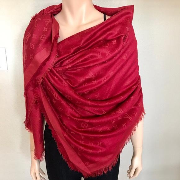 e9fcd0667da Louis Vuitton Accessories | Red Monogram Large Shawl Scarf Wrap ...